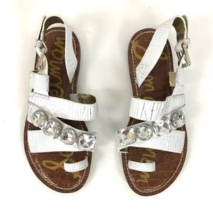 Sam Edelman crackled white rhinestone sandals